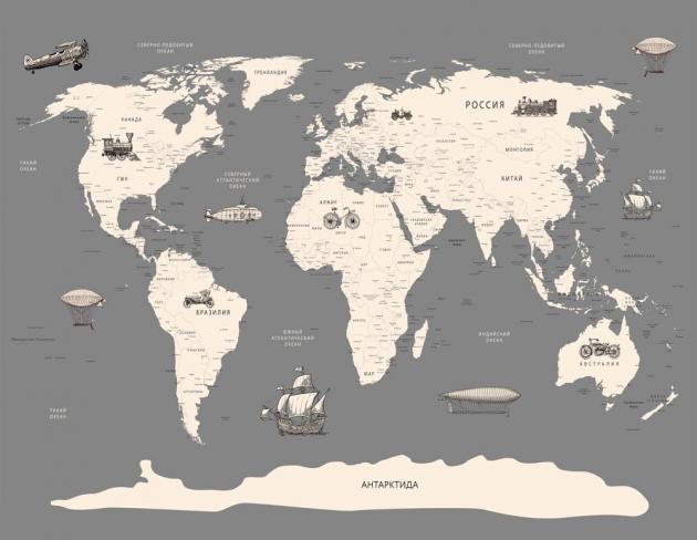 Карта мира с транспортом