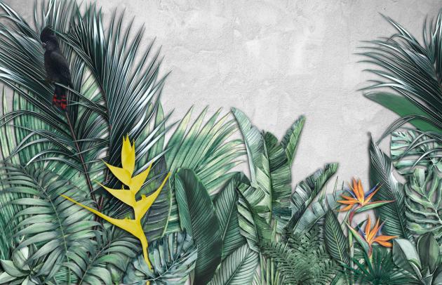 Листья с тропическими цветами