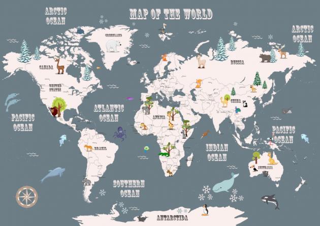 Карта мира с зоопарком