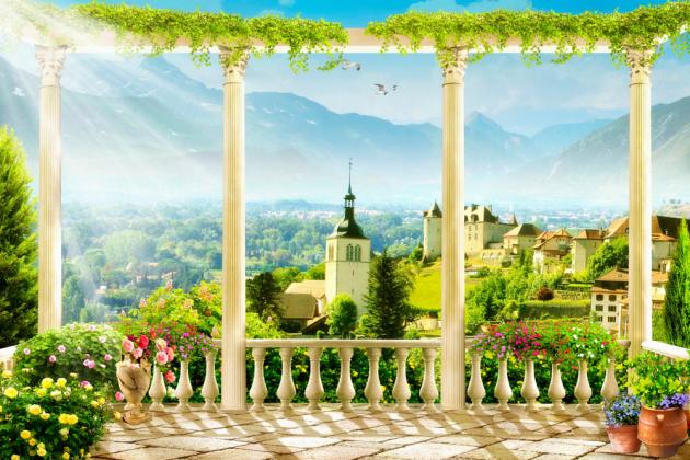 Терраса с видом на горы