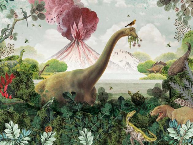 Динозавры с вулканом