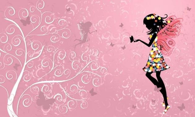 Фея на розовом фоне