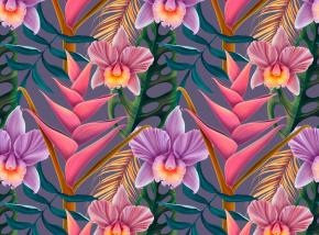 Картины Экзотические орхидеи с листьями
