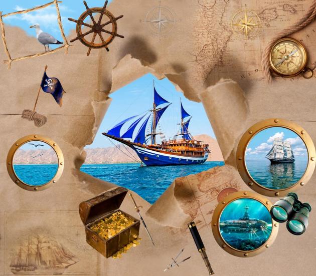 Пиратский корабль на стене
