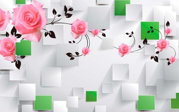 3Д розы над кубами