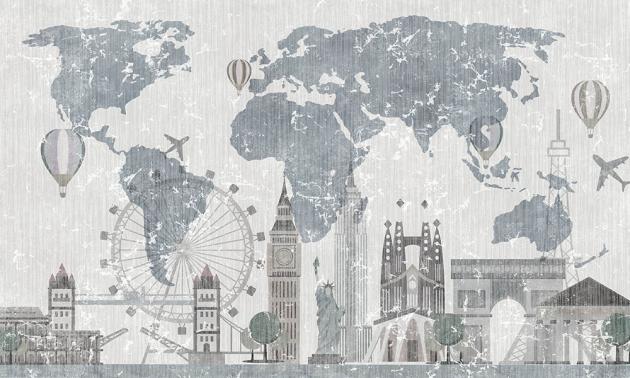 Карта мира с достопримечательностями