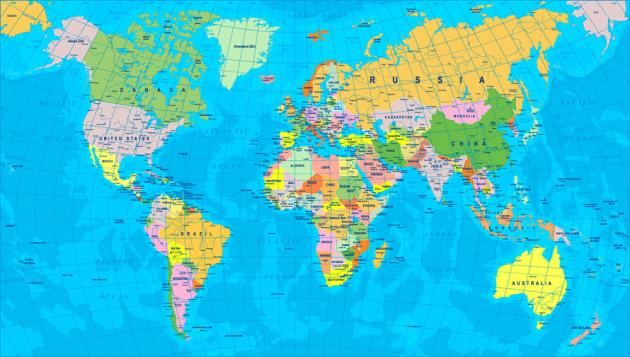 Карта мира на англ.яз