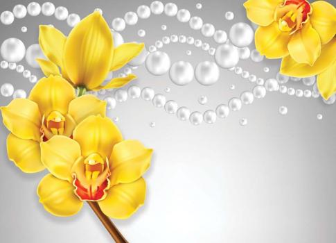 3Д орхидеи на ткани 360x260 Сатин