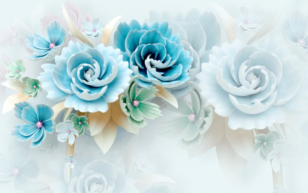 Голубые цветы 3Д