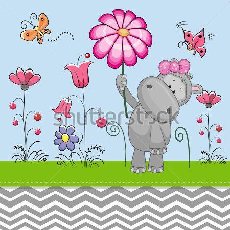 Бегемот с цветком