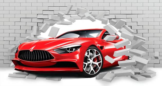 Машина в кирпичной стене