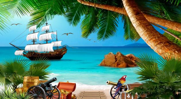 Пиратский корабль на пляже