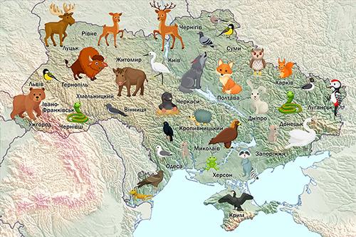 Карта Украины и звери