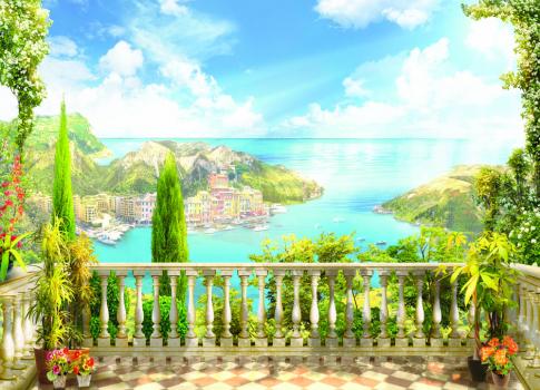 Терраса с видом на море 360x260 Сатин