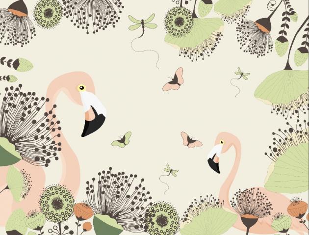 Фламинго с бабочками