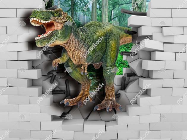 Динозавр в кирпичной стене