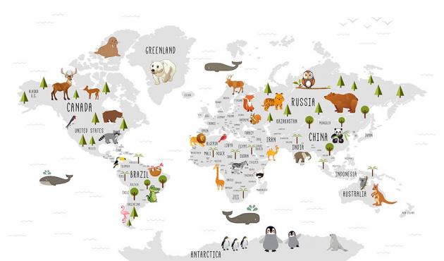 Карта мира со зверями