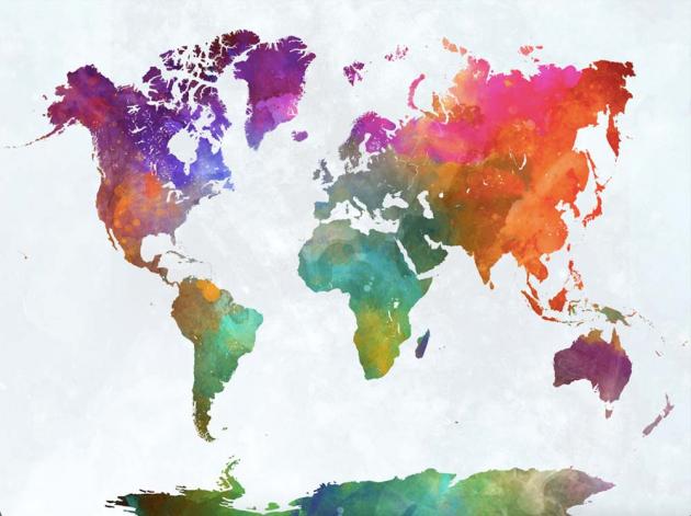 Разноцветная карта мира