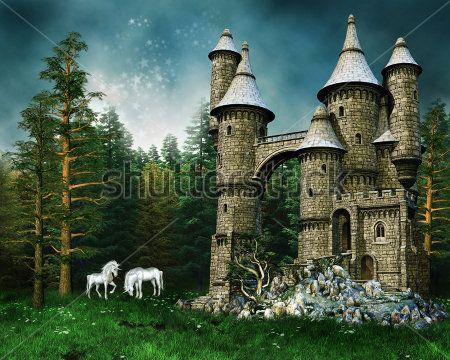 Единороги у замка в лесу